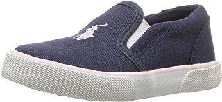 POLO RALPH LAUREN Kids Girls' Bal Harbour II Sneaker, Navy Canvas Light Pink pop, M025 M US Little Kid