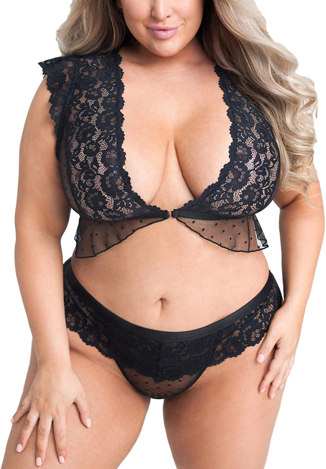 EVELUST Plus Size Front-Open Lingerie for Women Polka Ruffle Backless Cami Thong 2 Piece Underwear Naughty Bra and Panty