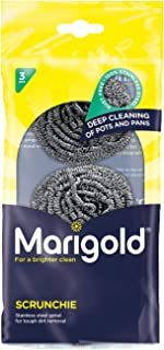 Marigold Scrunchie Stainless Steel Scourer, 12 Packs of 3 Scourers