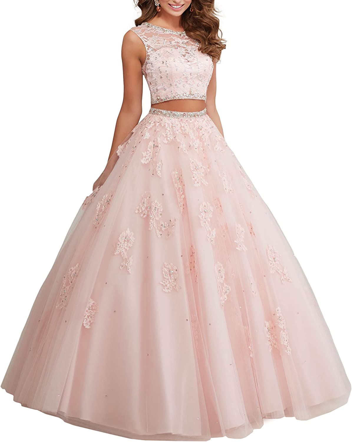 Two Piece Tulle Ball Gown Party Dress Beaded Lace Applique Quinceanera Dress