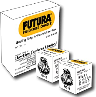 Hawkins Futura Rubber Gasket for 4L- 7L Tall Pressure Cooker and 2 Units of Futura Safety Valve