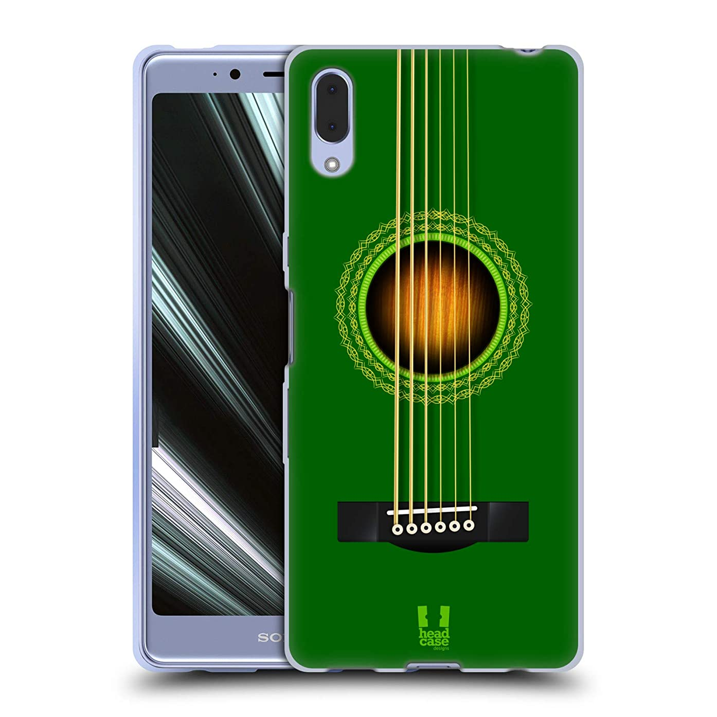 Head Case Designs Green Acoustic Guitar Soft Gel Case for Sony Xperia L3