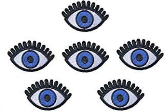6 Pcs DIY Blue Eye Embroidered Iron /Sew On Patches for Clothing Applique Badge Apparel Garment Accessories