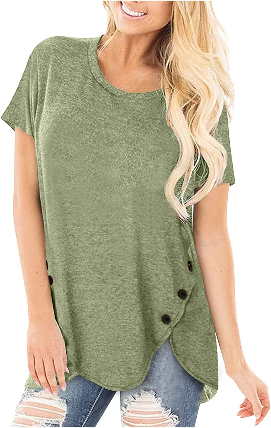 Women's Plus Size Comfortable Casual Rapid rise Tunic Neck Tops Round Today's only Short