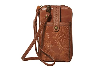 The Sak Iris North/South Smartphone Crossbody (Tobacco Floral Embossed) Cross Body Handbags