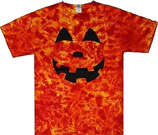 Tie Dyed Shop Cotton Orange Black Jack-O-Lantern Halloween Tie Dye Shirt Men Women Teens