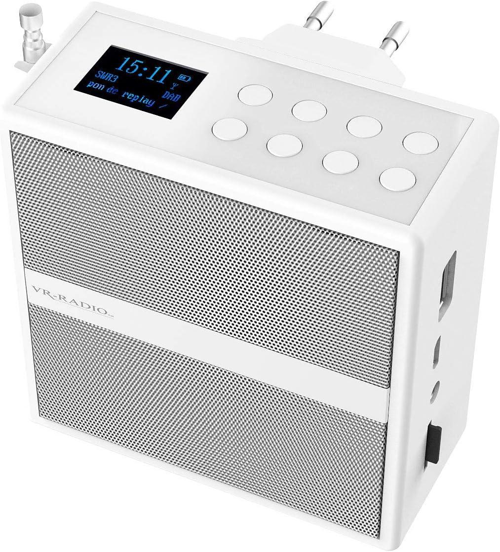 VR Radio Badradio Steckdosenradio mit DAB+/FM, Bluetooth, USB,  Freisprecher & Akku, 20 W Badradio DAB+