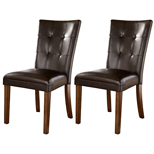 Amazon.com: Ashley Furniture Signature Design - Lacey Dining Side Chair - Set of 2 - Medium Brown Finish: Kitchen & Dining