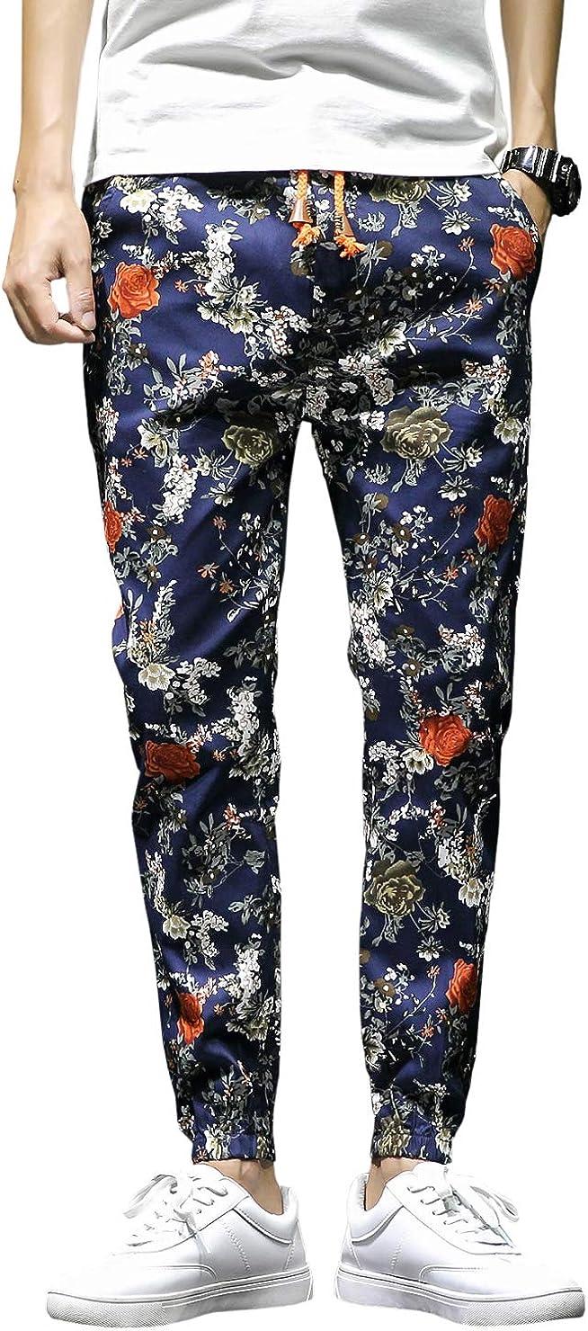 A surprise price is realized QZH.DUAO Men's shop Jogger Pants Floral