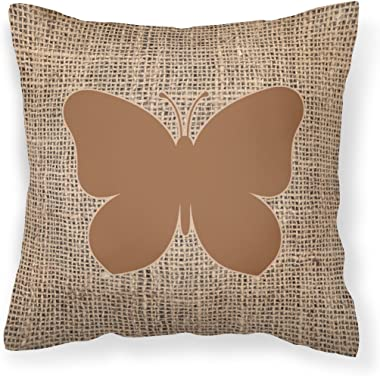 Caroline's Treasures BB1047-BL-BN-PW1818 Butterfly Burlap and Brown Canvas Fabric Decorative Pillow BB1047, 18H x18W, Multicolor