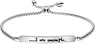 Joycuff I Am Enough Bracelet Adjustable Chain Link Bar Bangle Awareness Self Love Care Affirmation Love Yourself Sentimental Jewelry Gift for Her