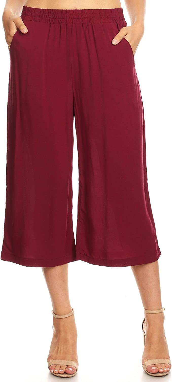 Ambiance Apparel Women's Juniors Wide Leg Culotte Pants