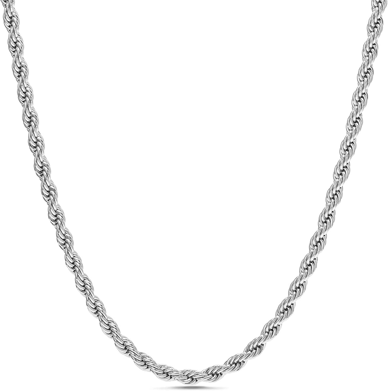 Nautica 2mm - 8mm Rope Chain Necklace for Men or Women in Rhodium Plated Brass