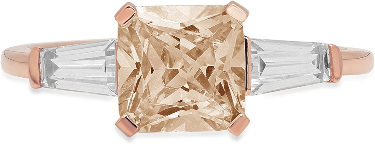 1.62ct Square Emerald Baguette cut 3 stone Solitaire Accent Brown Champagne Simulated Diamond Ideal VVS1 Engagement Promise Statement Anniversary Bridal Wedding Ring 14k Rose Gold