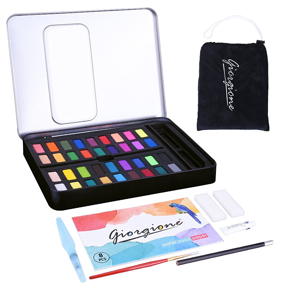 LegendTech 36 Assorted Colors Watercolor Paints with Tin Case Non-toxic Pigment Coloring Painting Set Include Painting Brush White Paint Tube Absorbent Sponge Water Color Paper