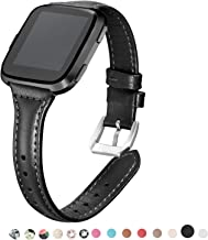 (13cm - 20cm , Black) - bayite Bands For fits fitbit Versa, Slim Genuine Leather band Replacement Accessories Strap for Versa Women Men