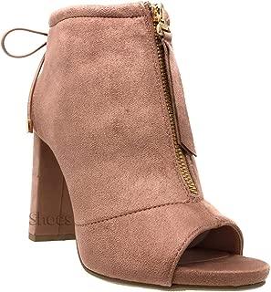 Womens Open Toe Ankle Bootie Front Zip Chunky Heel Nice Boots