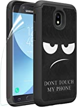 OEAGO Samsung Galaxy J3 2018/J3 Achieve/J3V J3 V 3rd Gen/J3 Star/Amp Prime 3/Express Prime 3/Sol 3 Case, OEAGO [Shockproof] Hybrid Dual Layer Defender Case Cover [Don't Touch My Phone], Black