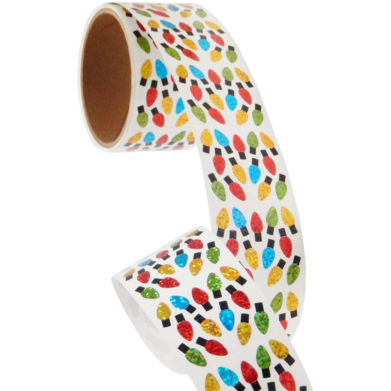 Bulk Roll Prismatic Stickers, Micro Christmas Lights (100 Repeats)