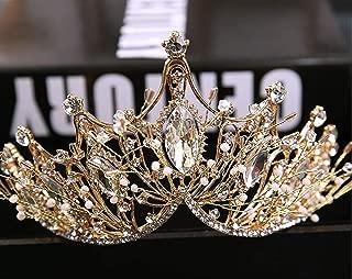 Chargances Bride Wedding Crystal Crown Gold Crown Pearl Tiara Bridal Headpiece Headband Taira for Wedding Hair Accessory Queen Crown Wedding Hair Piece Wedding Head Piece