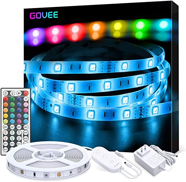 LED Strip Lights Govee 16 4ft RGB Color Changing Light Strip Kit With Remote And Control Box For Room Bedroom TV Ceiling Cupboard Decoration Bright 5050 LEDs Cutting Design Easy Installation