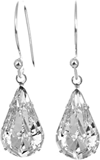 b4b84277b8c1b4 925 Sterling Silver drop earrings for women made with sparkling White  Diamond teardrop crystal from Swarovski