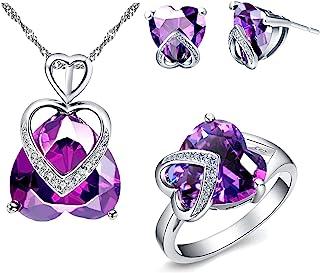 Feb birthstone heart infinity knot dangle earrings