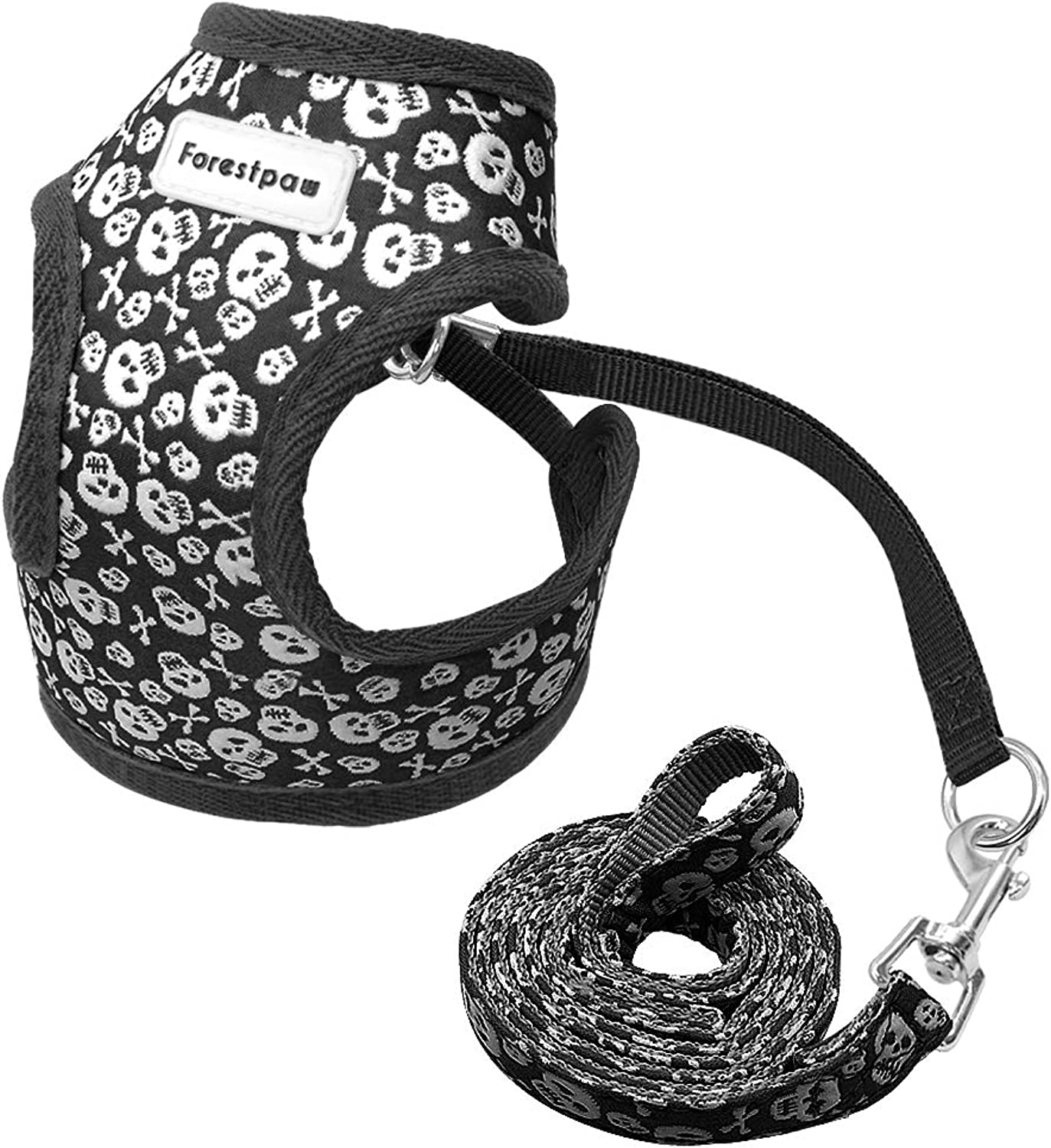 Forestpaw Pirate Skull Pattern Small Dog Vest Harness Leash Set  Cute Pet Harness for Walking Cats Puppy Small Dogs,Black,S