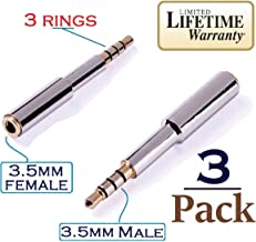 Josi Minea x 3 Pcs 3.5mm Audio Jack Extender Headphone Adapter with Gold Plated 4-Pole 3.5mm Connectors (3 Ring Jack) for Apple iPhone 6 / 6 Plus / 5S / 5C / 5 4S, iPad Air / Mini, Samsung Galaxy S6 / S5 / S4 / S3, Note 4 / 3 Nexus 4, HTC One, Nokia Lumia & most other Smartphones & Tablets [ 3 Pack ]