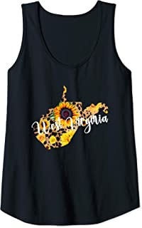 Womens West Virginia Sunflower Leopard Print Wildflower State Map Tank Top