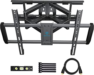 PERLESMITH Full Motion TV Wall Mount Fits 16 18 24 Inch Wood Studs - Dual 6 Arms Articulating TV Mount for 37-70 Inch LED, LCD, Plasma TVs up to 132lbs VESA 600x400 - Model PSLFK3-24