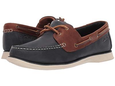 Clarks Port View (Navy Combi Leather) Men
