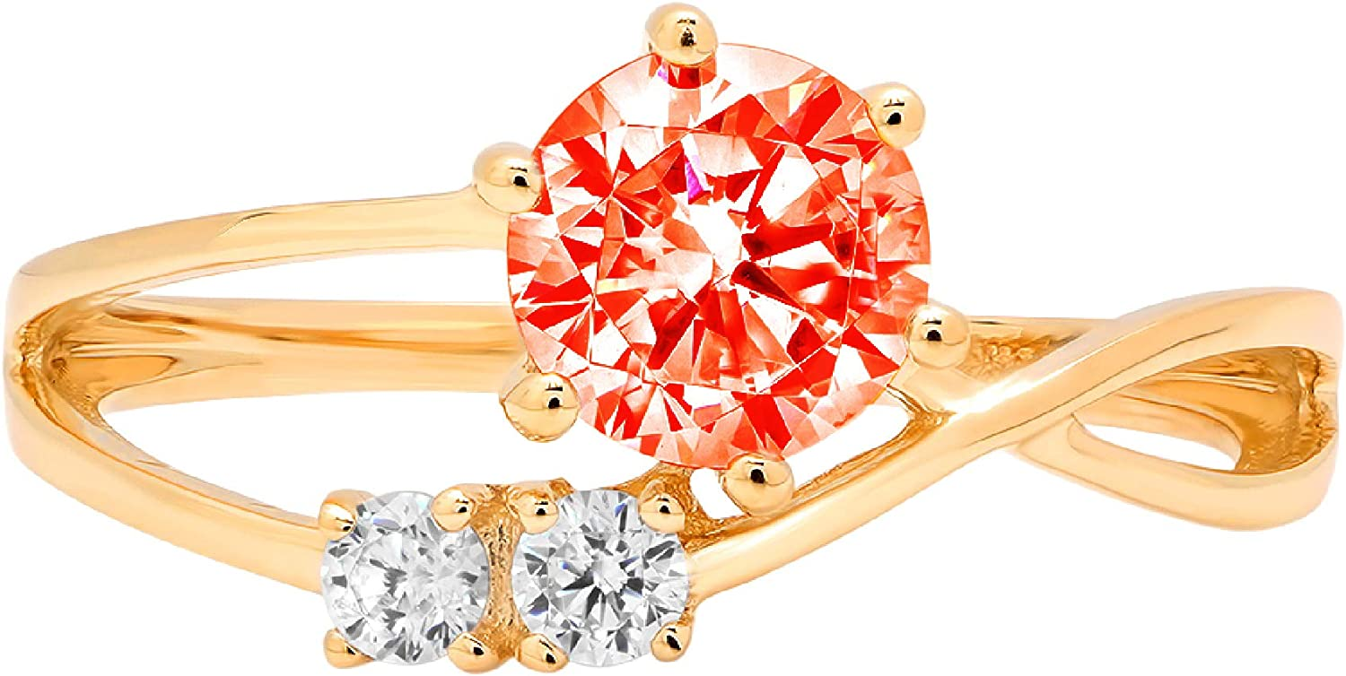 0.79ct Round Cut 3 stone love Solitaire Red Ideal VVS1 Simulated Diamond CZ Engagement Promise Statement Anniversary Bridal Wedding with accent Ring Solid 14k Yellow Gold