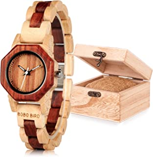 Women Wooden Watch Lightweight Analog Watches for Women Red Sandalwood Wooden Adjustable Watch Band Wristwatch with Wooden Gift Box