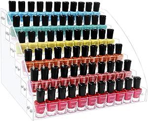 KLATIE Nail Polish Organizer 6 Layers Acrylic Nail Polish Rack, Acrylic Display Nail Polish Holder for Organize and Storage, Clear Essential Oil Shelf Stand Case