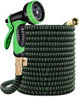 Voyage Sports 75FT Expandable Garden Hose, 3/4 Inch Solid Brass Fittings, Flexible Water Hose, 10 Function Spray Nozzle (B...