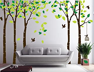 Five Trees Wall Decals Sticker - Forest Birch Mural Paper for Bedroom Kid Baby Nursery Vinyl Removable Woodland DIY Decals 103.9x70.9, Green+Brown
