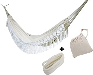 Boho Large Handmade Brazilian Natural Ecru Cotton Hand Woven Hammock with White Crochet Fringe, Macramé Double Deluxe White Lace Wedding Hammock,with Tree Rope and Carry Bag