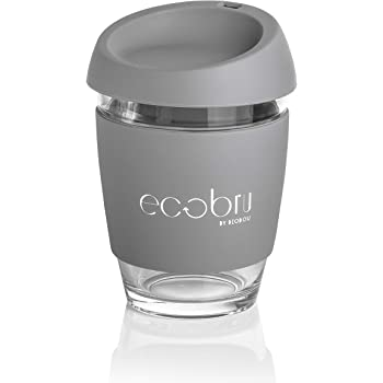 Eco Friendly Reusable Glass Coffee Cup with Food Grade Silicone Lid. Ecoffee Travel Mug 12oz340ml. by Ecobru (Grey) REMOVES 1LB of Rubbish from