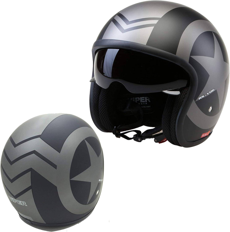 Matt Black Star Motorradhelm Mit Offenem Gesicht Viper Rsv06 Motorrad Roller Touring Sonnenblende Jet Helm Ece Legal Crash Grafik Mit Visier Option L Auto