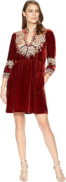 Olenna Velvet Henley Boho Dress
