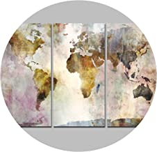 Wind Song 3Panel Watercolor World Map Modular Painting Posters Wall Art Picture for Living Room,40x70cmx3 Unframed,PT1765