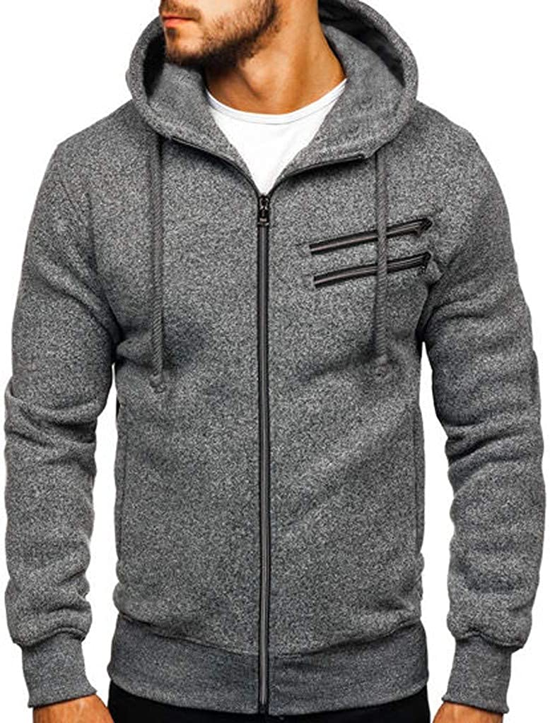 Miskay Men's Long Sleeve Hooded Sweatshirt Outdoor Sport Solid Zipper Pullover Hoodie Jacket Outwear with Pockets