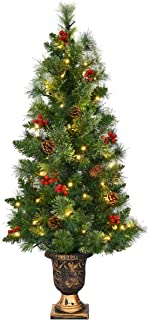 Goplus 5 FT Christmas Tree Pre-Lit Tabletop Artificial Entrance Tree with 100 Led Lights, Gold Urn Base, Pine Cones and Red Berries (5 FT Led Light)