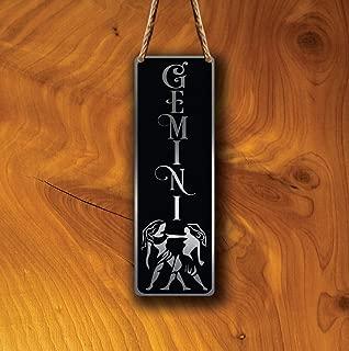 TiuKiu Gemini Zodiac Sign Wall Art Sign, Gemini Wall Plaque, Gemini Hanging Plaque, Gemini Star Sign, Gemini Star Sign Art, Zodiac Gemini, Gemini - 4 x 18 inch