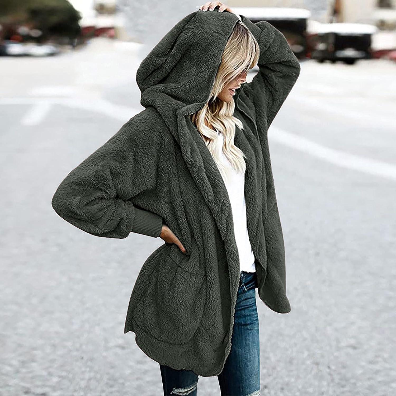 Women's Faux Fur Jacket Oversized Fleece Coat Winter Solid Color Faux Fur Lined Hooded Coat Shaggy Shearling Jacket Tops