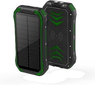 30000mAh Solar Power Bank, 15W Fast Qi Trådlös laddare Vattentät Powerbank med Camping Flashlight Portable Charger Poverba...