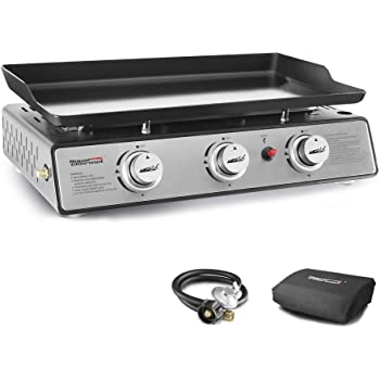 Royal Gourmet PD1301S Portable 24-Inch 3-Burner Table Top Gas Grill Griddle with Cover, 25,500 BTUs, Outdoor Cooking Camping or Tailgating, Black