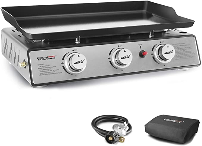 Royal Gourmet PD1301S 3-Burner Table Top Gas Grill Griddle - Best Portable Gas Grill