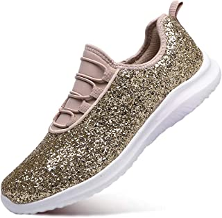 EXEBLUE Women Fashion Glitter Sneakers Lightweight Casual Slip On Platform Sneakers for Outdoor - Lace Up & Elastic Tongue
